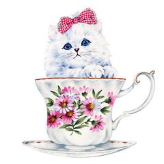Kot w Filiżance od Kawy
