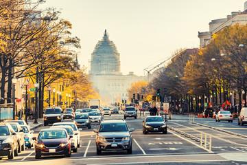Pennsylvania street and US Capitol in Washington DC, USA