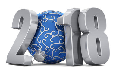 New year illustration metal inscription 2018 and a blue ball on a white background. 3d rendering. Christmas illustration.