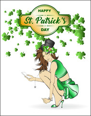 St.Patrick 's Day. Lovely girl in a hat on a white background with shamrocks clover. A pretty fashion leprechaun girl.