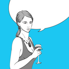 Woman drinking wine. Sexy woman with glass of wine. Pop art retro vector illustration. Template with bubble for text.