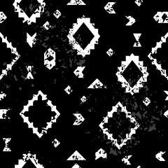 Black and white aged geometric aztec ethnic grunge seamless pattern, vector