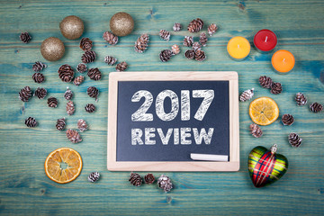 2017 review. Christmas and holiday background. Ornaments and decor on a wooden table. Fototapete