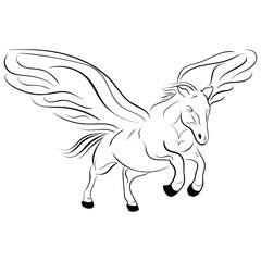 Silhouette of a running pegasus vector sketch