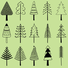 Vector illustration of simple hand drawn Christmas tree, set of cute pine tree in different shapes, holiday decorating elements