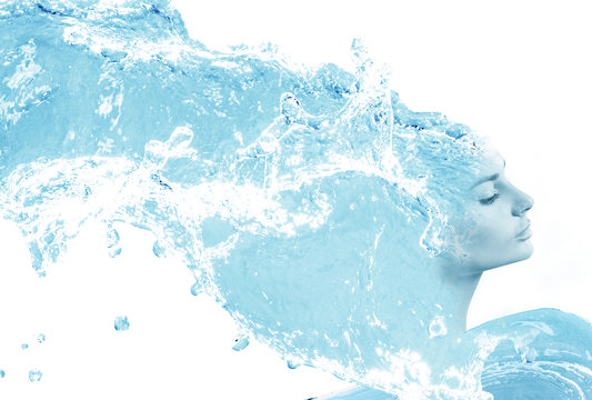 Double exposure of young woman and water splashes.
