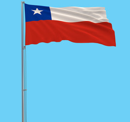 Isolate flag of Chile on a flagpole fluttering in the wind on a blue background, 3d rendering.
