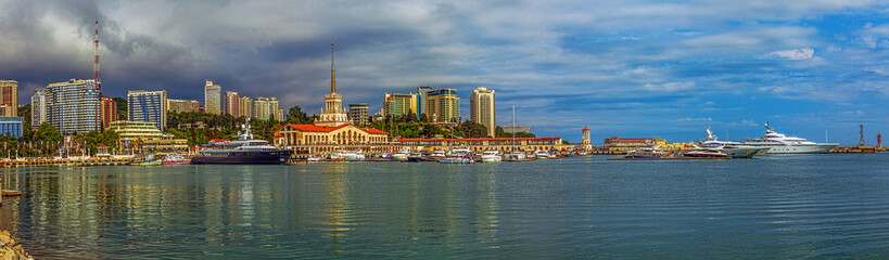 SOCHI, RUSSIA - JUNE 4, 2015: Shimmering reflection of the central part of the city