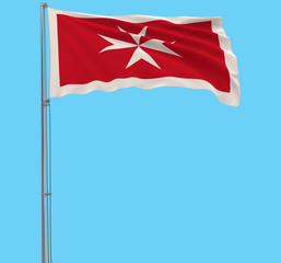 Isolate Civil Ensign of Malta - flag on a flagpole fluttering in the wind on a blue background, 3d rendering.