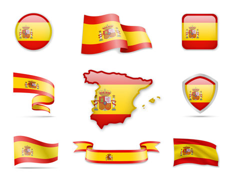 Spain Flag Collection. Vector illustration. Flag Set
