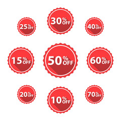Vector Percentage Off Sale labels, red color, isolated on white.