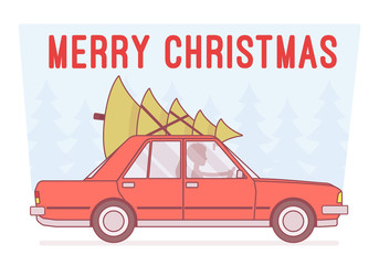 Merry Christmas Tree on car top