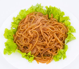 noodles and meat in sour sweet sauce