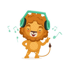 Cute young lion cartoon character standing with paw up and listening to music through headphones. Vector flat illustration isolated on white.
