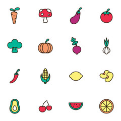 Fruit and vegetables icon set. Fruit and Healthy food with elements for mobile concepts and web apps