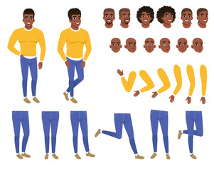 Constructor of young black man. Guy in yellow sweater and blue jeans. Creation set. Body parts, hairstyles and face expressions. Cartoon flat vector character
