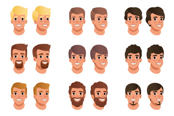 Cartoon set of men avatars with different hair styles, colors and beards: black, blonde, brown. Human head. Male with smiling face expression. Flat vector design