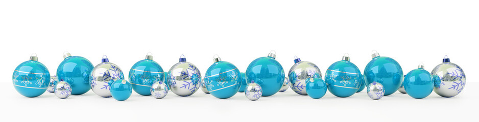 Blue and white christmas baubles lined up 3D rendering