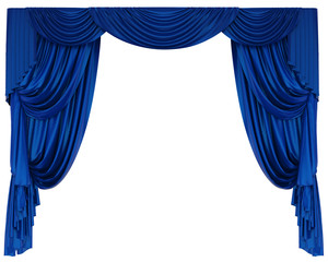 Blue Theatre Curtain Isolated