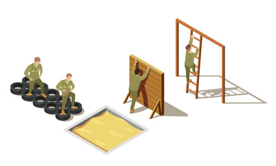 Military Recruit Training Isometric Composition