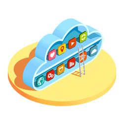 Cloud Computing Apps Isometric Composition