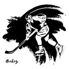 Winter sport. Hockey player. Vector illustration. Black and white sample. Page for coloring book.