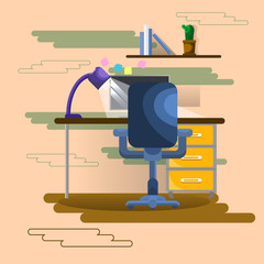 Empty Workplace Seat With Laptop Computer Business Worker Workspace Office Flat Vector Illustration