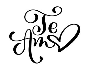 Te Amo love you Spanish text calligraphy vector lettering for Valentine card. Vector illustration for photo overlays, t-shirt print, flyer, poster design, mug, pillow