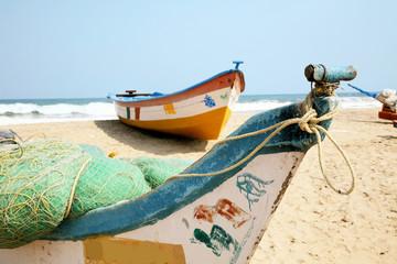 Boote am Stran von Mamallapuram