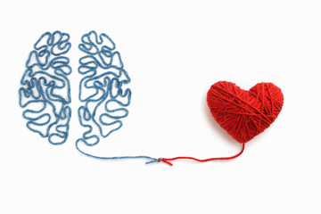 Heart and brain connected by a knot on a white background Fototapete