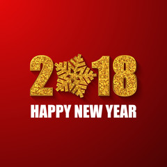 2018 Happy New Year banner. Gold glitter numbers. Vector background.