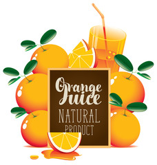 Vector banner for fresh juice with oranges, glass of juice, orange slice and blackboard with inscription Orange juice