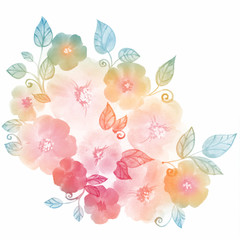 Watercolor flower bouquet. Hand-drawn floral composition, beautiful summer wedding background.