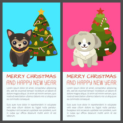 Merry Christmas Set of Dogs Vector Illustration