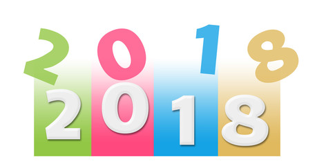 New Year 2018 Colorful Random Text Stripes
