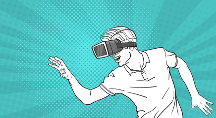 Man Sketch Wear Goggles 3d Glasses Virtual Reality Gesturing Pop Art Style Background Vector Illustration