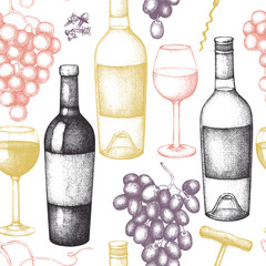 Vintage wine background.  Vector illustration with wine glass, grapes, bottle. Hand drawn alcoholic drink design. Seamless pattern.