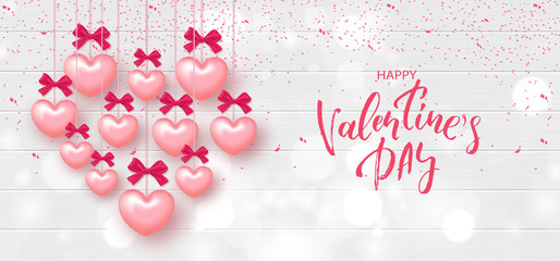 Festive Card for Happy Valentine's Day. Background with Realistic Hearts and confetti on Wooden Texture. Vector Illustration.