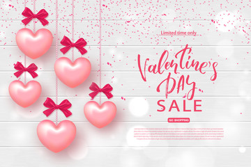 Valentine's day sale banner. Beautiful Background with Realistic Hearts on Wooden Texture. Vector illustration for website , posters, email and newsletter designs, ads, coupons, promotional material.