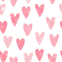 Cute pink hearts seamless pattern. Grunge texture. Vector illustration