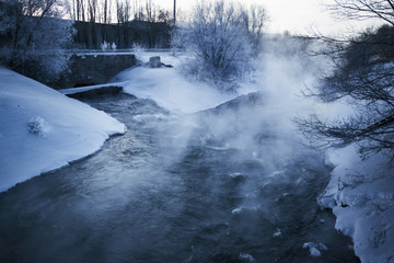 a hot spring in winter.