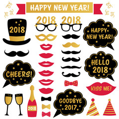New Year 2018 party photo booth props
