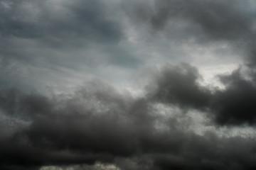 Dark sky and black clouds, Dramatic storm clouds before rainy, Closeup black cloud motion