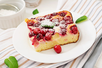 Cottage cheese casserole with cherries