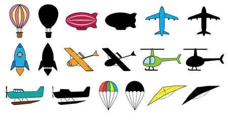 Set of air transports: balloon, dirigible, airplane, space rocket, hydroplane, helicopter, seaplane, parachute, glider. Colorful images and silhouette. Vector illustration.