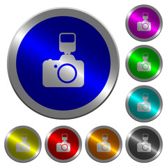 Camera with flash luminous coin-like round color buttons