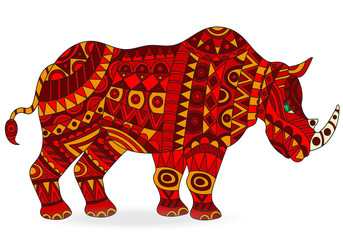 Illustration of abstract red rhino, animal  on white background , isolate