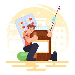 drug addiction Medical Pills Tablets, Bottle, syringe addict man Vector colorful illustration in flat style image