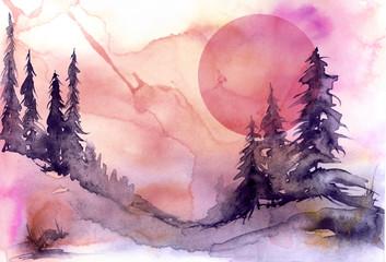 Watercolor drawing, illustration. Forest landscape, fir, pine, tree, cedar, red, pink sun, sunset, sunrise. Splash paint, abstract illustration. Art painting. Winter landscape.