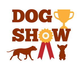 Dog Show Award with Ribbon Canine Animal Design